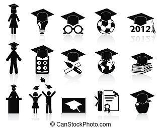 黒, 卒業, アイコン, セット