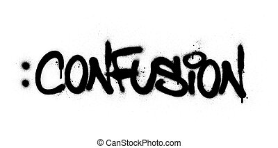 黒, 単語, 混乱, 上に, スプレーをかけられた, 白, 落書き