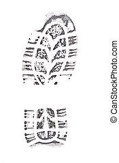 黒, 印刷, ブーツ, 跡