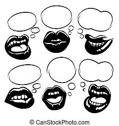 黒, 唇, セット, 泡, スピーチ