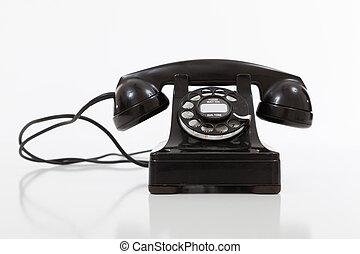 黒, 回転式の電話, 型, 白