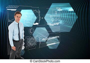 黒, 地位, 光沢がある, 背景, 手, ビジネスマン, に対して, 六角形, 深刻, ポケット