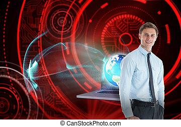 黒, 地位, 手, 光沢がある, 背景, ポケット, 微笑, ビジネスマン, に対して, 赤, 円
