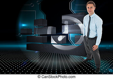 黒, 地位, 手, 技術的である, 背景, ポケット, ビジネスマン, 戸口, に対して, 幸せ