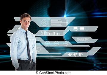 黒, 地位, 技術的である, 背景, 手, ビジネスマン, 戸口, に対して, 深刻, ポケット
