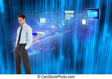 黒, 地位, 背景, 手, 青, 未来派, ビジネスマン, に対して, 深刻, ポケット