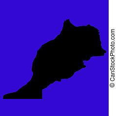 黒, 地図, の, モロッコ