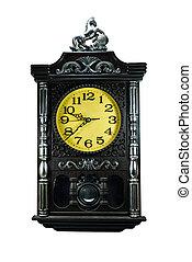 黒, 型, 時計, 隔離された