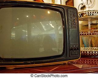 黒, 型, 白, アナログ, セット, tv, bw