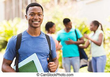黒, 大学学生, カメラを見る