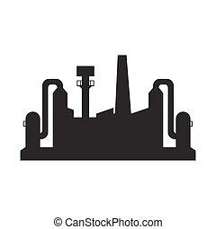 黒, 工場, アイコン
