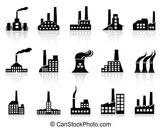 黒, 工場, アイコン, セット