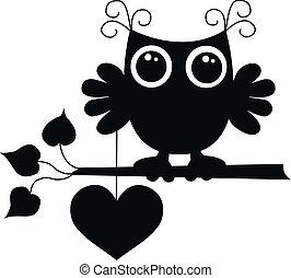 黒, 愛, フクロウ