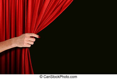 黒, 手オーバー, 背景, 開始, 赤いカーテン