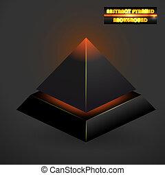 黒, 抽象的, ベクトル, ピラミッド, 3d