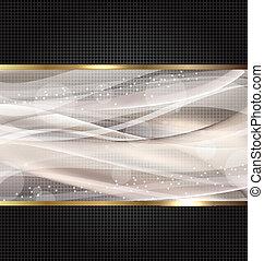 黒, 抽象的, 波状, デザイン, テンプレート