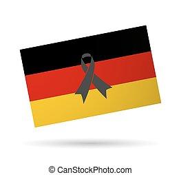 黒, 旗, ドイツ, リボン