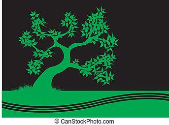 黒, 木, 緑の背景