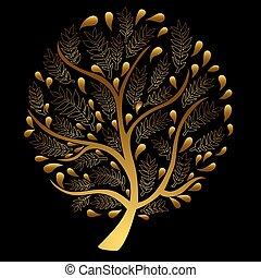 黒, 木, 隔離された, 金, 背景
