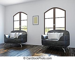 黒, 椅子, livingroom