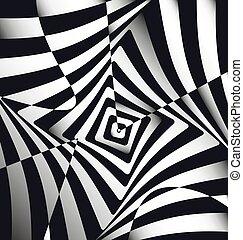 黒, 正方形, イラスト, 抽象的, ベクトル, 白いライン