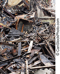 黒, 火, 板, 破壊された, 残骸, 燃えた, 家, timbers, 倒れられる