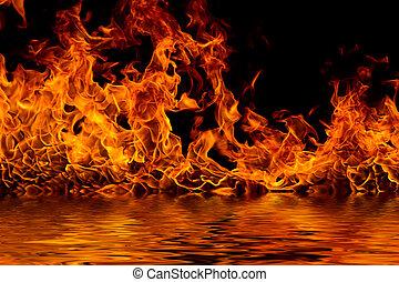 黒, 燃え上がる, 炎