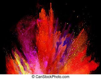 黒, 爆発, カラードの背景, 粉