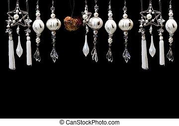 黒, 白いクリスマスツリー, 銀, 装飾