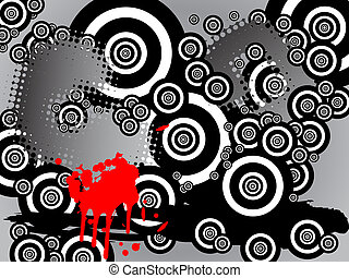 黒, 白い円, レトロ