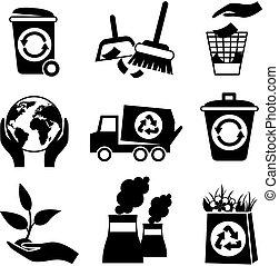黒, 白, エコロジー, セット, アイコン