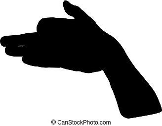黒, 白, シルエット, 背景, 手