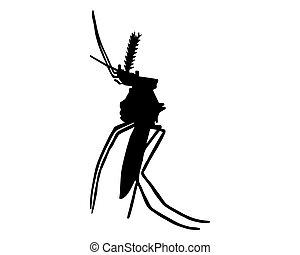 黒, 白, シルエット, 蚊