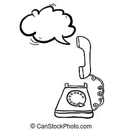 黒, 白, スピーチ, 電話, buble