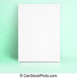 黒, 白, ペーパー, ポスター, lean, ∥において∥, パステル, 緑, 色, スタジオ, 部屋, mock,...