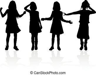 黒, 白, 子供, バックグラウンド。, シルエット