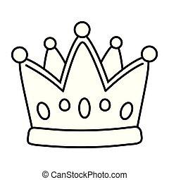 黒, 白, 王冠, 漫画, アイコン