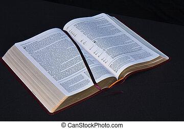 黒, 聖書, 開いた, 背景