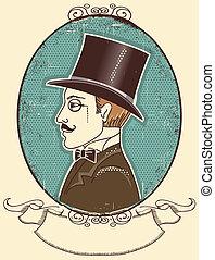 黒, 肖像画, ベクトル, 上, 型, 優雅である, hat., 紳士