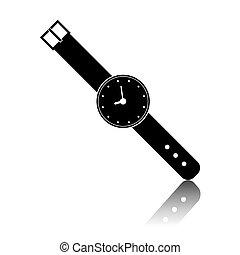 黒, 腕時計, アイコン