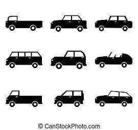 黒, 自動車, ベクトル, アイコン, stock., セット, イラスト