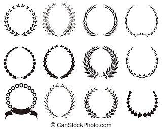 黒, 花輪, セット, 月桂樹