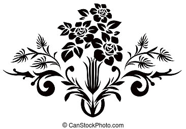 黒, 花, シルエット, パターン