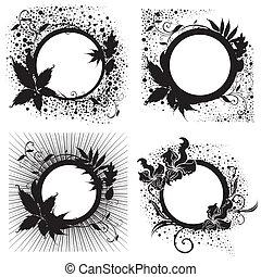 黒, 花, セット, ベクトル, 型