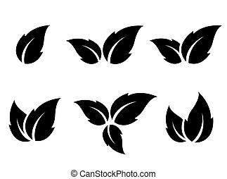 黒, 葉, アイコン, セット
