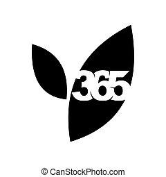 黒, 葉, アイコン, 農場, ロゴ, デザイン, 無限点, イラスト, 365
