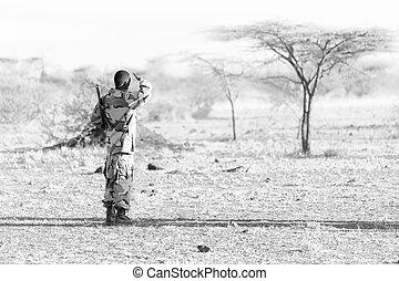 黒, 見る, 寄宿生, 彼の, 銃, 兵士