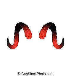 黒, 角, twisted, 赤, isolated., 現実的, 悪魔, ベクトル, イラスト