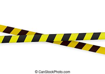 黒, 警告, テープ, 黄色