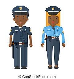 黒, 警察, 人々